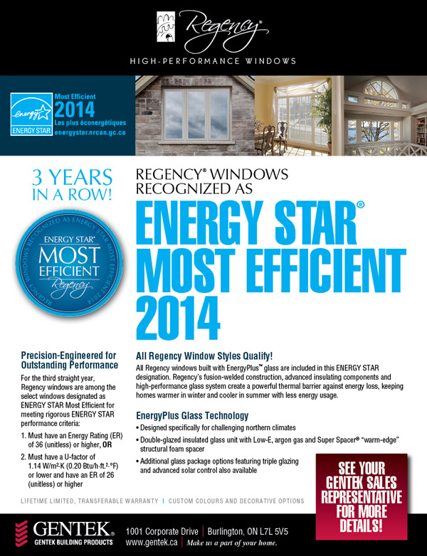 Gentek Regency Window Most Efficient 2014